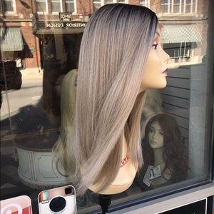 Ash blonde ombré Medium Length Soft Lace Wig 2019